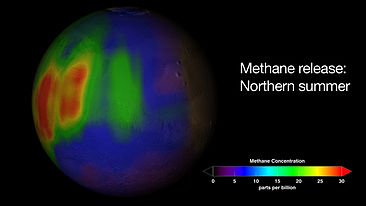Spår av utsläpp av metan under den norra hemisfärens sommar. Illustration av NASA