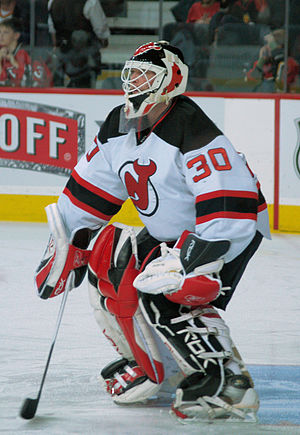 Martin Brodeur in the pre-game warmup in Calgary