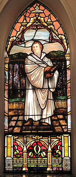 A stained glass portrayal of Luther MartinLutherWindow.jpg