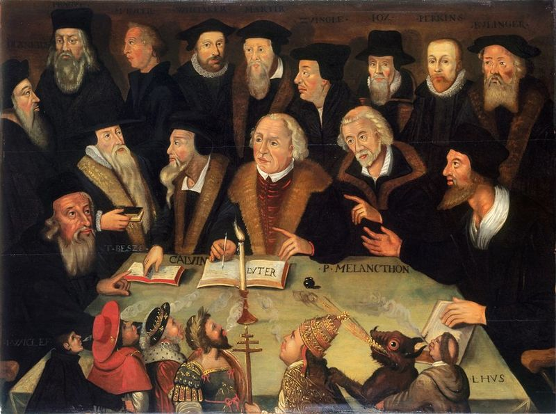 Painting of Martin Luther seated among other Protestant reformers