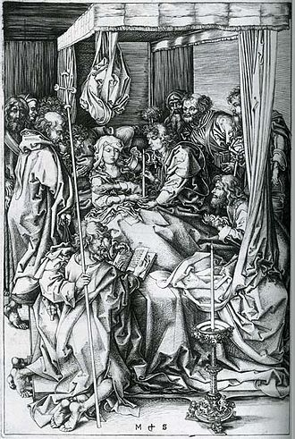 Death of the Virgin (van der Goes) - Martin Schongauer, The Death of the Virgin, engraving, early 1470s.