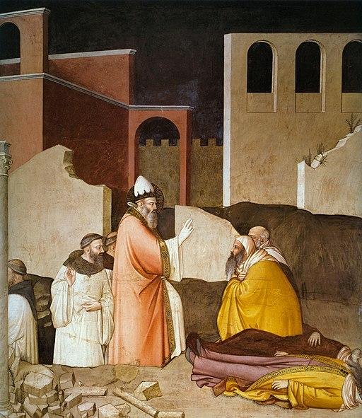 Maso di Banco, Storie di san Silvestro, Miracolo del santo che resuscita due maghi uccisi dall'alito del mostro, Cappella Bardi di Vernio, Santa Croce, Firenze