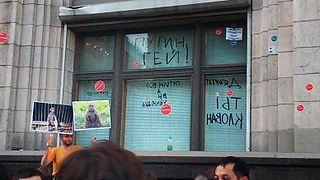 Mass protest in Moscow 18 June 2013 - The State Duma window - Putin gay.jpg