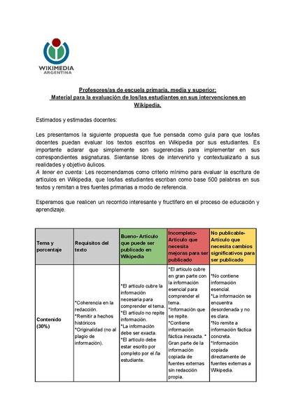 File:Material para la evaluación de los-las estudiantes en sus intervenciones en Wikipedia.pdf