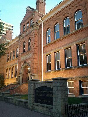 McKay Avenue School - McKay Avenue School with sign for Edmonton Public Schools Archives and Museum