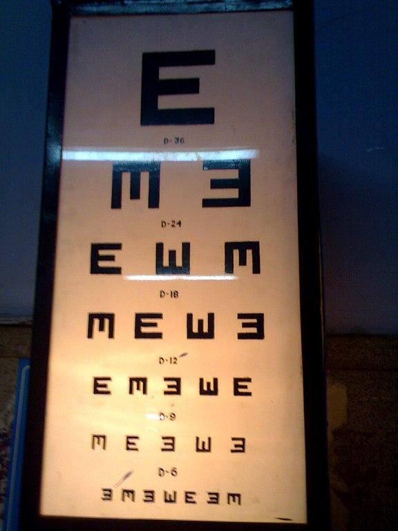 Eye Chart: Medical Instrument Eye Visual acuity chart E chart.jpg ,Chart