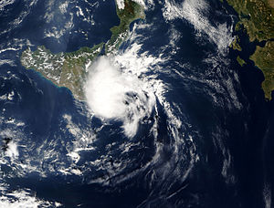 Mediterranean tropical-like cyclone - A Mediterranean tropical-like cyclone south of Italy on 27 October 2005