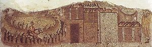 Domus Aurea (Antioch) - A possible depiction of the Great Church of Antioch (to the right) next to the Imperial Palace, from the border of the late 5th century Megalopsychia hunt mosaic, found in Daphne, near Antioch