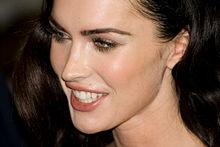 A close-up photograph of Megan Fox's face