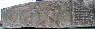 Meigle Sculptured Stone Museum - Detail of one side of Meigle 26.