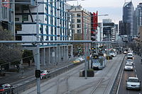 Melbourne University tram stop shunting area, looking south, 2013 (1).JPG