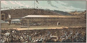 1881 in sports - Engraving of the finish line at the 1881 Melbourne Cup