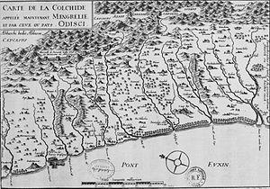 Odishi - A map of Odishi, originally by Archangelo Lamberti, 1654.