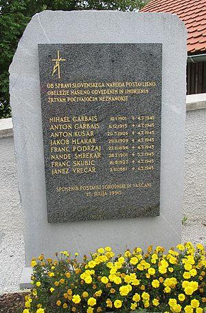 Šentpavel - Memorial to 1945 killings