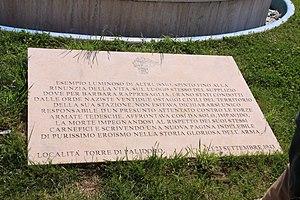 Salvo D'Acquisto - Memorial plaque to Salvo D'Acquisto
