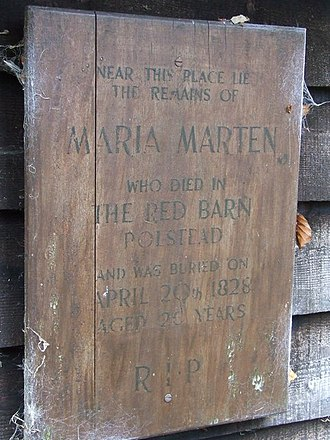 Red Barn Murder - Memorial to Maria Marten in the churchyard of St Mary's, Polstead