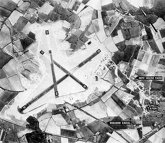 RAF Merryfield - Merryfield airfield in 1943, having just been turned over to the USAAF by the contractors, shown with the village of Ilton.