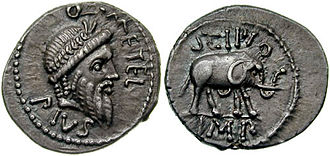 Quintus Caecilius Metellus Pius Scipio Nasica - Denarius issued by Metellus Scipio as Imperator in North Africa, 47–46 BC, depicting Jupiter and on the reverse an elephant