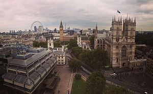Methodist Central Hall, Westminster - This is a view of London from the roof of the Methodist Central Hall, looking to the east. Taken in September 2016.