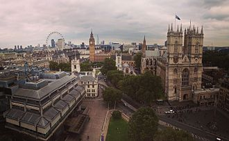 Methodist Central Hall, Westminster - A view of London from the roof of the Methodist Central Hall, looking to the east