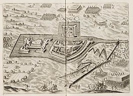Mevrsae Obsidio - Siege of Meurs (Moers) by Maurice of Orange in 1597 - (Johannes Janssonius, 1651).jpg