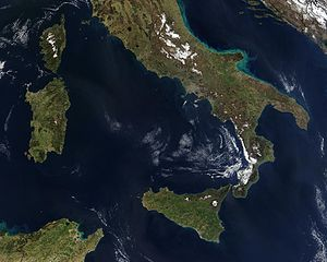 Southern Italy - Satellite image of Southern Italy and the French island of Corsica