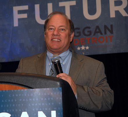 In 2013 Mike Duggan was elected Mayor of Detroit Mike Duggan 2013.jpg