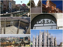 A collage of Milan: The Navigli to the top left, followed by the Via Dante which leads to the Castello Sforzesco, then by the Galleria Vittorio Emanuele II, the Royal Palace of Milan, the Milan Stock Exchange, a view of the city and finally the Duomo.