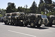 The 5P85TE2 of an S-300PMU2 SAM on parade in Baku in 2011.