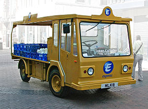 Milk float - An electric milk float in Liverpool city centre, June 2005