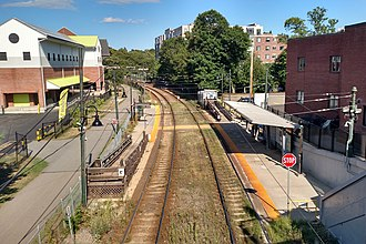 Milton station (MBTA) - Milton station from Adams Street in August 2016