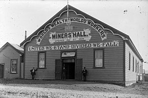 Runanga, New Zealand - The Runanga Miners' Hall ca. 1910.
