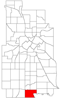 Location of Diamond Lake within the U.S. city of Minneapolis