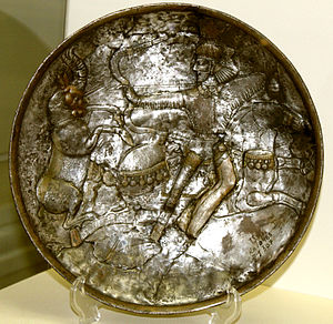 History of Azerbaijan - Sassanid silver plate excavated in Shamakhi, (Azerbaijan State Museum of History)