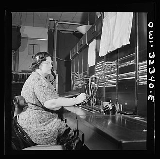 Women in telegraphy - Miss Ethel Wakefield, a Western Union telegraph PBX operator, pictured in 1943.