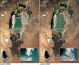 Vozrozhdeniya Island - Rebirth Island joins the mainland in mid-2001.