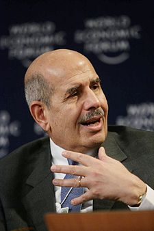 Al-Barādeʿī al World Economic Forum a Davos, Svizzera, 25 gennaio 2007.