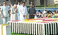 Mohd. Hamid Ansari paying homage at the Samadhi of Mahatma Gandhi on his 143rd birth anniversary, at Rajghat, in Delhi on October 02, 2012. The Union Minister for Urban Development, Shri Kamal Nath is also seen.jpg