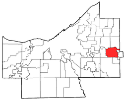 Location of Moreland Hills in Cuyahoga County