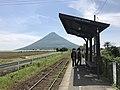 Mount Kaimondake from platform of Nishi-Oyama Station 4.jpg