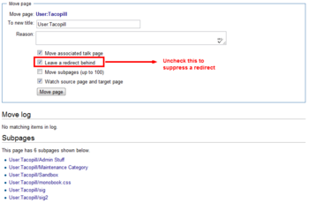 Movepage with redirect suppression hightlighted