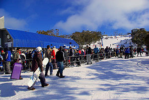 Mount Buller, Victoria - Bourke St, the main series of lifts leading from the village towards the summit of Mount Buller