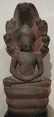 Muchilinda Buddha from Cambodia, Angkor kingdom, Bayon style, 12th century, sandstone, HAA