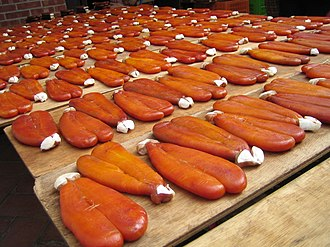 Spawn (biology) - The pickled and dehydrated roe of mullet