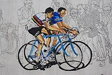 Murale a Castellania che ritrae Fausto Coppi (in maglia iridata) con il fratello Serse