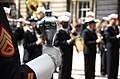 Musicians with the U.S. Naval Forces Europe Band perform a concert for David Wilson, the Lord Lieutenant and Lord Provost of the city of Edinburgh, Scotland, outside the city chambers building July 30, 2012 120730-N-VT117-865.jpg