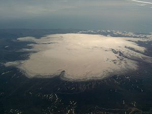 Aerial view of Mýrdalsjökull from the north in July 2009