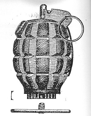 Rifle grenade - Drawing of the Mills N°36 rifle grenade, with its gas check disk for use with cup-launcher