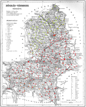 Nógrád County (former) - Ethnic map of the county with data of the 1910 census (see the key in the description).