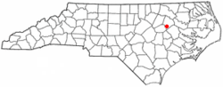 Location of Pinetops, North Carolina